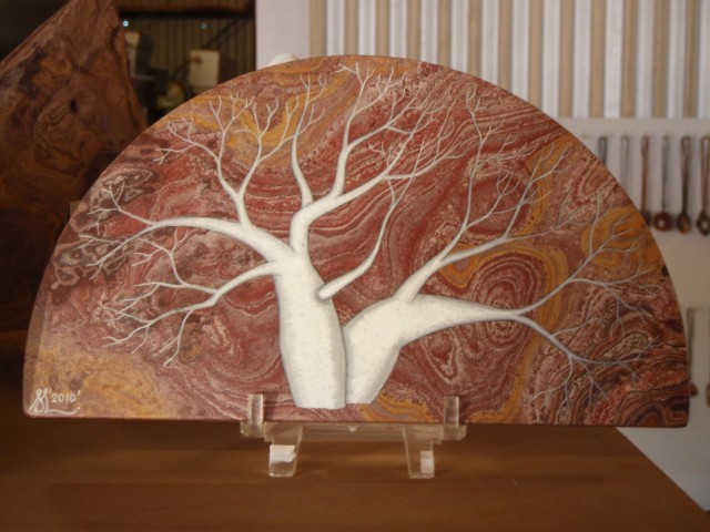 Hand painted Boab tree on Ning Bing Stone